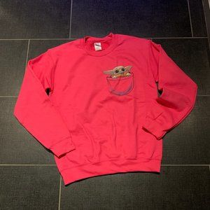 New Hot Pink Baby Yoda Hand Painted Sweatshirt